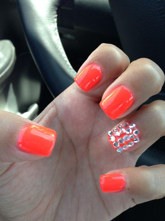 New set nails rhinestones shellac neon orange red