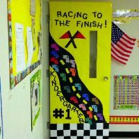 May door decoration - racing to the finish | Bulletin ...