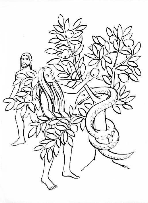 Adam and Eve. Original Sin Catholic Coloring Page