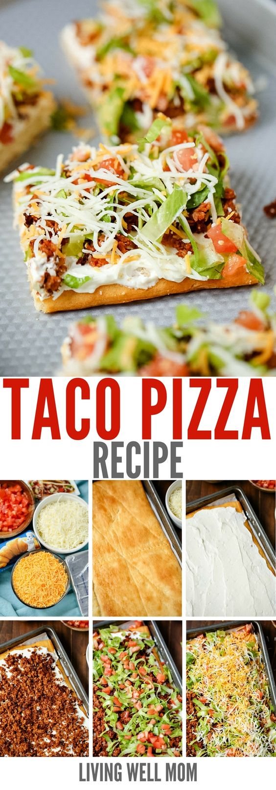 "Taco Pizza Recipe via Living Well Mom - this is a great as an easy family dinner (you can even make it the night before) or a tasty appetizer. Kids love this recipe and the cream cheese/sour cream ""sauce"" and spicy taco flavor are a hit with adults too."