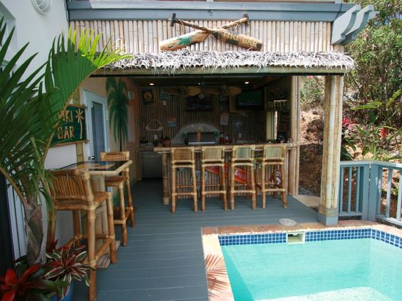 full tiki bar and outdoor kitchen