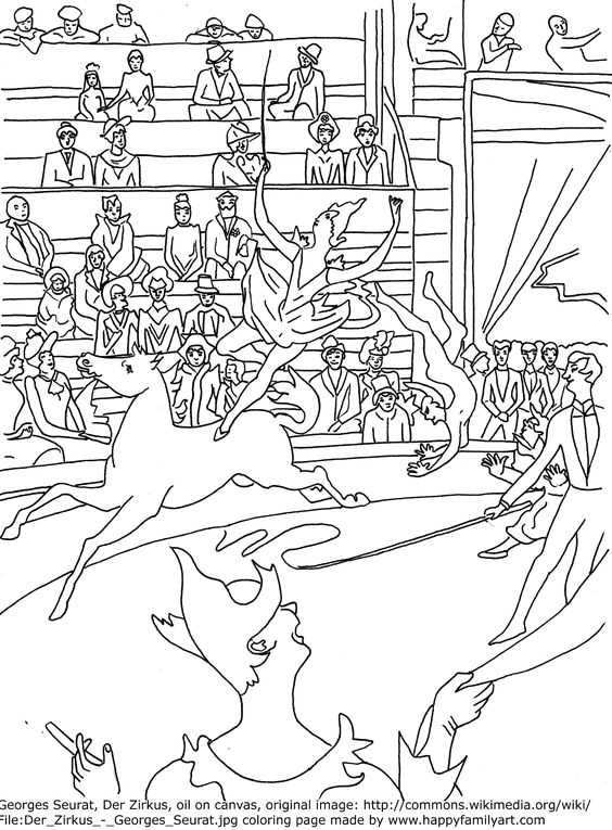 George Seurat Le Cirque Famous Paintings Coloring Pages