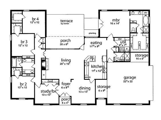 floor plan 5 bedrooms single story  Five Bedroom Tudor