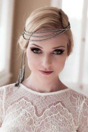 art deco bridal headband with rhinestones