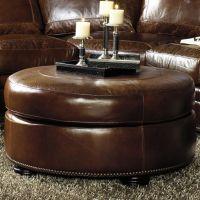 Brown round leather ottoman | Round Ottoman w/ Bun Feet ...