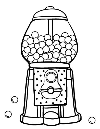 Printable gumball machine coloring page. Free PDF download