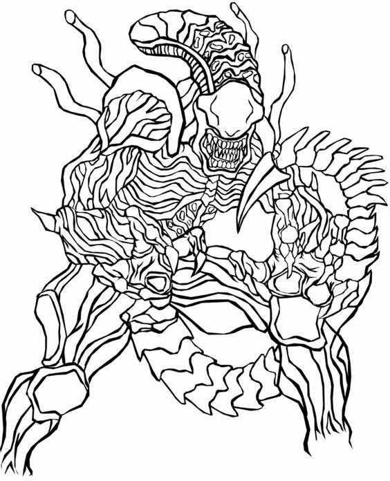 Alien vs predator, Colouring pages and Co uk on Pinterest