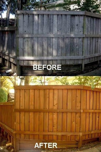 Fence Staining Before and After  Stained Fences