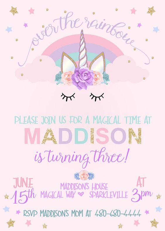 invitacion cumpleaños unicornio