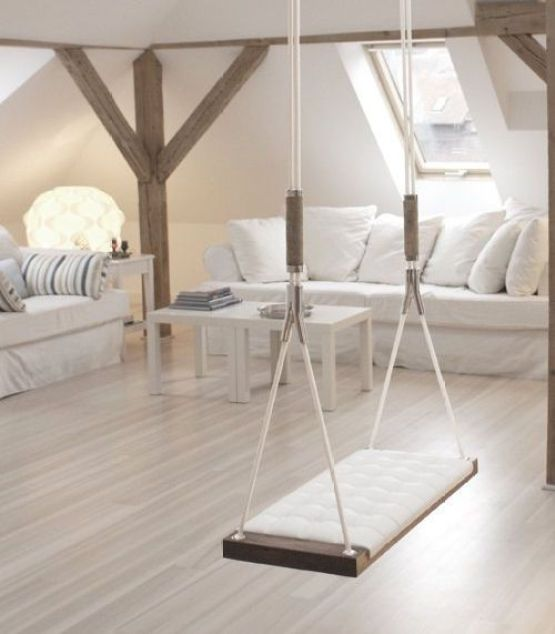 How cool would it be to have a swing in your house?  It would be impossible to sit on it and not smile :):