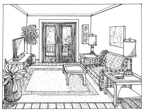 One Point Perspective Drawing Of A Living Room Rendered 1
