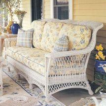 wicker couch sofa white