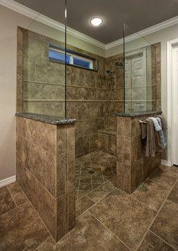 Traditional Bathroom No Door Shower Design Ideas Pictures