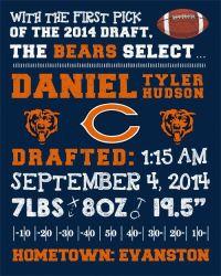 NFL Chicago Bears Wall Art Birth by FaithFamilyFunDesign ...