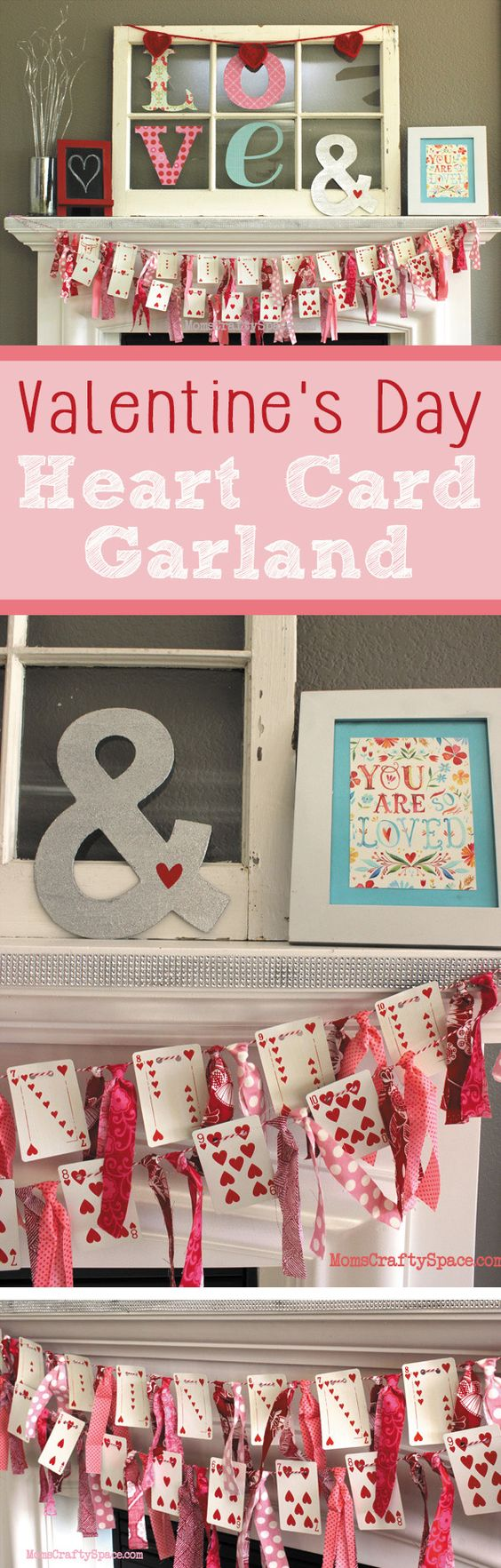 Valentine's Day Heart Playing Cards Banner Garland: via Happiness is Homemade - Perfect for your Valentine's Day Mantel Decorations!