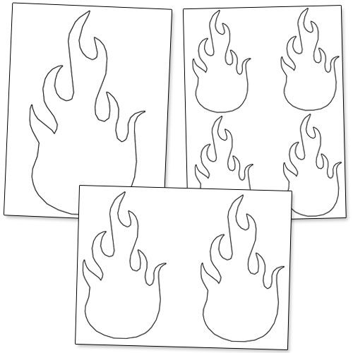 Printable Flame Stencils. Print these on red, orange, and
