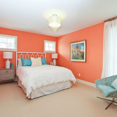 Bedroom peach wall color Design Ideas, Pictures, Remodel