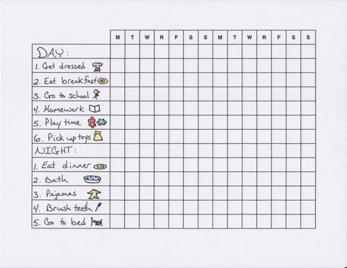 Routine chart, Charts and Charts for kids on Pinterest