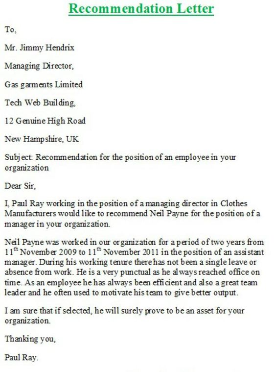 Personal Recommendation Letter Samples  Letter sample Good job and Letter example