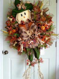 Fall Scarecrow Mesh Wreath,Scarecrow Door Wreath,Fall Mesh ...