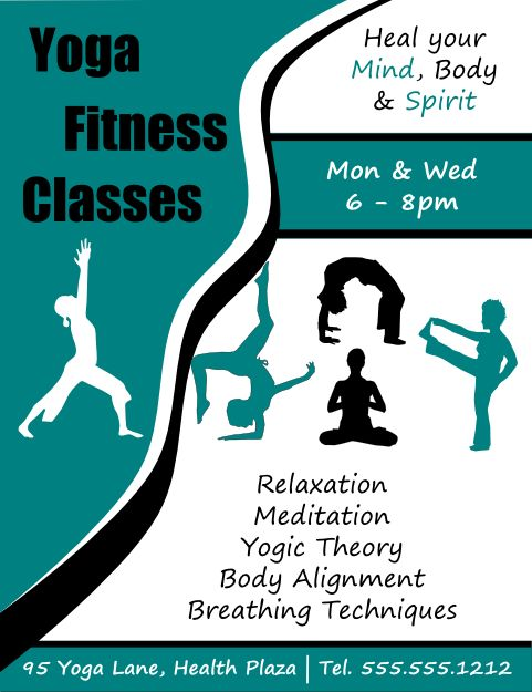 Fitness Classes Flyers And Yoga Fitness On Pinterest