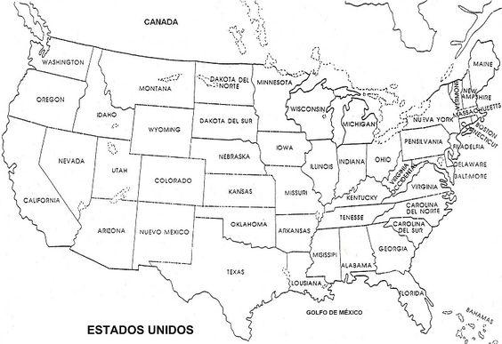 Mapa De Estados Unidos En Espanol en blanco y negro