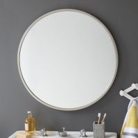 Downstairs bathroom: round silver mirror + grey paint ...