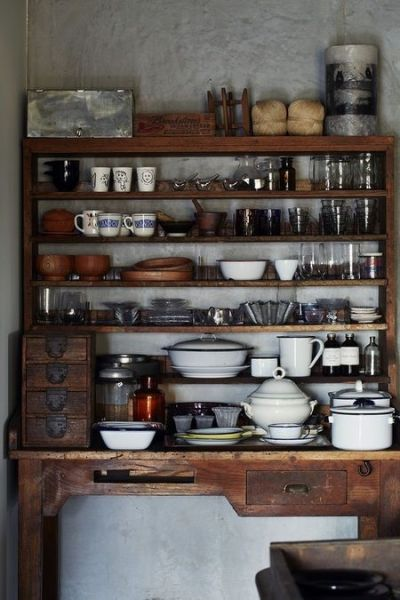 open rustic kitchen cabinets Rustic dresser, Open shelving and Pantry on Pinterest