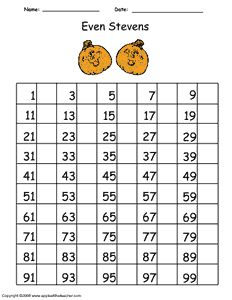 Practice writing even numbers with this handy 100 number