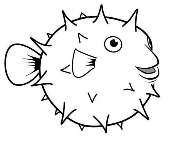 Puffer Fish, : Happy Globefish Puffer Fish Coloring Page