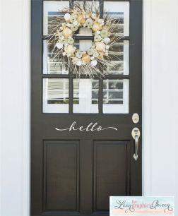 Hello Front Door Decal Script Lettering by LeenTheGraphicsQueen: