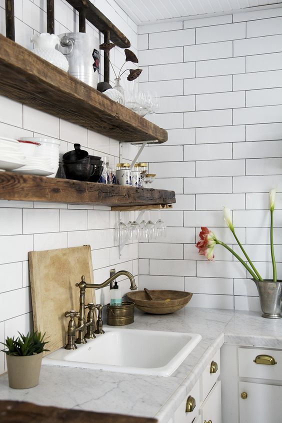 Kitchen Photos- love the white tiles and the wood: