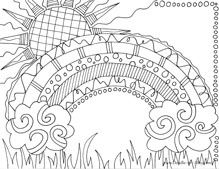 rainbow coloring pages, nature coloring pages zentangle