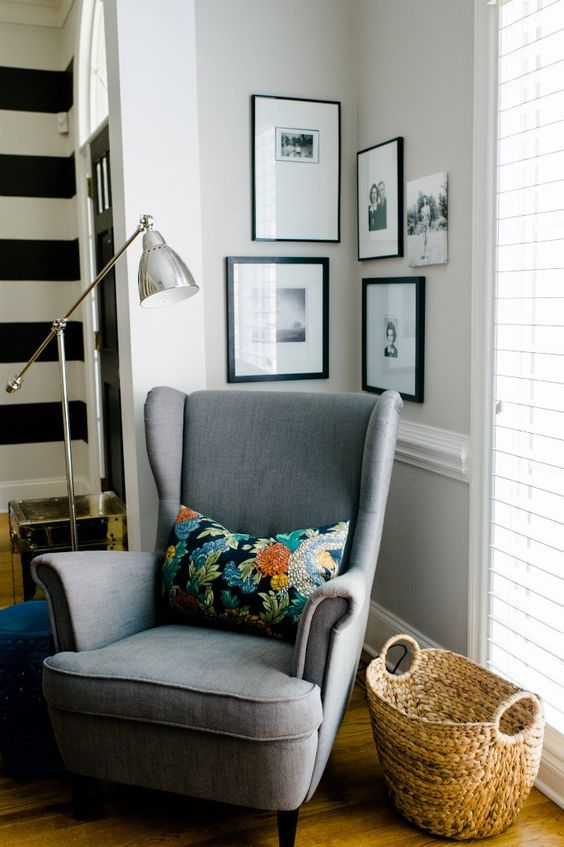 reading chair, corner nook, pharmacy lamp, wingback, fun