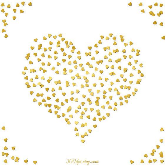 heart gold foil confetti digital