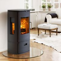 freestanding round woodburning stove corner hearth ...