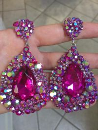 Pageant earrings | Fuchsia pageant earrings | hot pink ...