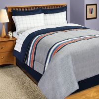 Gray Blue Orange Rugby Stripe Twin Comforter Set (6pc Bed ...