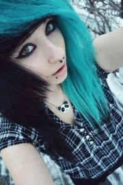 turquoise and black hair hairstyles