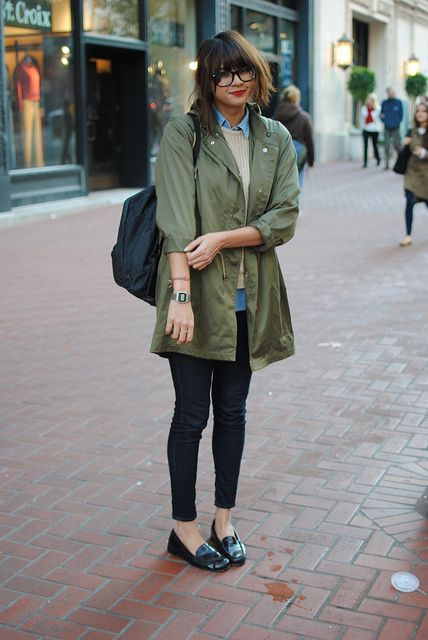 Khaki jacket, chambray shirt, knit, jeans: