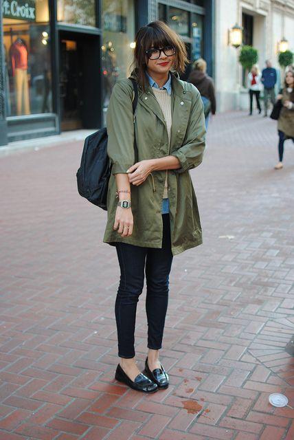 Khaki jacket, chambray shirt, knit, jeans: