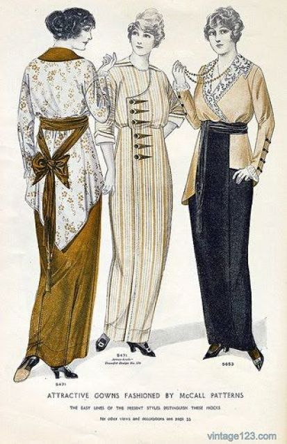 1914 fashion plate. Women wear long and slim skirts. It's too difficult to move when wearing this dress !: