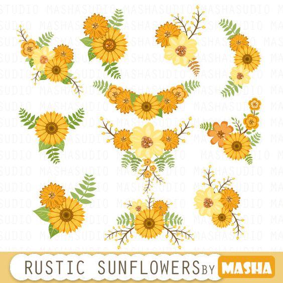 floral bouquet clipart sunflower