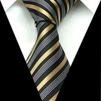 Brand New Necktie Polyester gray black gold stripe ...
