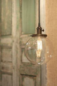 "Hanging Pendant Light Fixture with 8"" Glass Globe Shade ..."