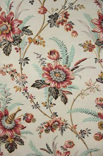 Antique French Fabric Indienne Floral Arborescent Design c1870 Material | eBay: