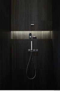 Niche in wall of shower--horizontal niche. Need not be ...