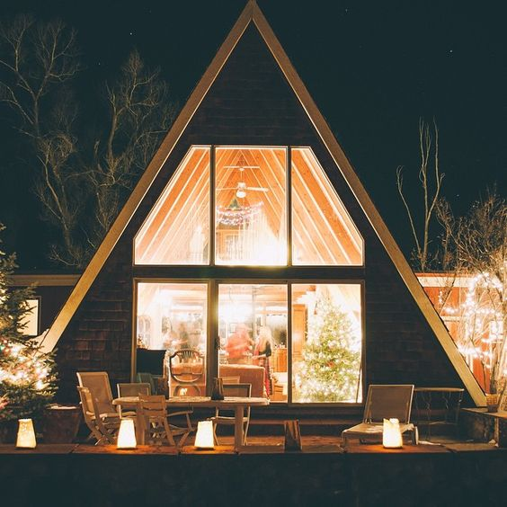 illuminated A-frame at night: