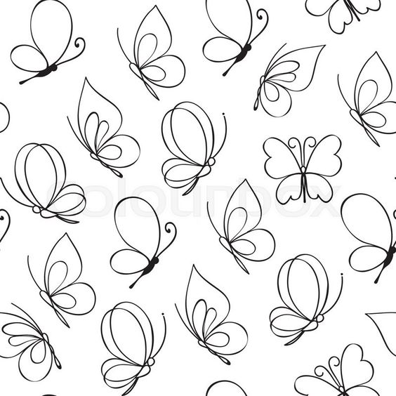 Hand Drawn Simple Butterfly Pattern Vector Illustration