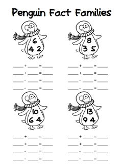 FREE Penguin Fact Families (addition/subtraction AND